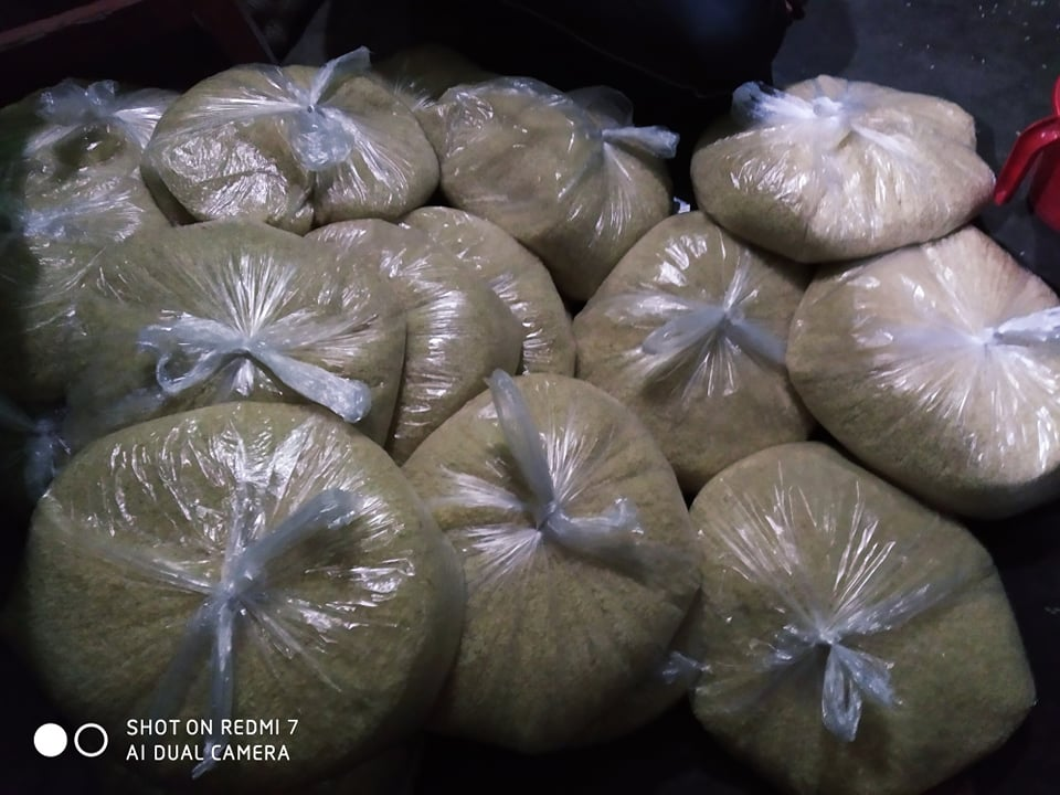 Volunteer A J Salim: Rice packed and ready to go.